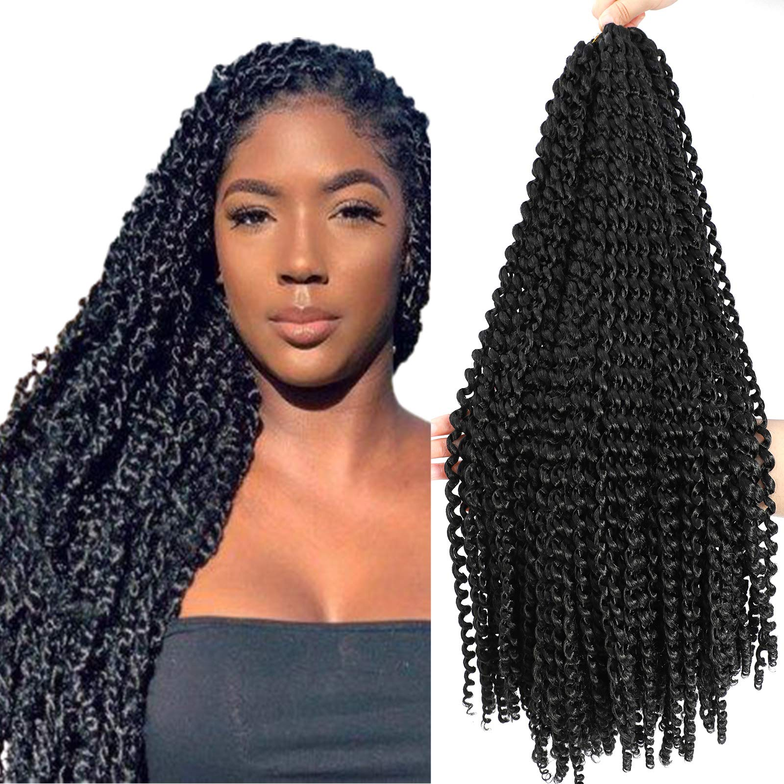 Passion twist hair 24 inch Freetress Water Wave Crochet Braiding Synthetic Hair Extensions (24 inch 1pack, 1B)