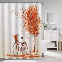 """VVA Autumn Fabric Shower Curtain, Tree with Falling Leaves and Vintage Bicycle, November Day in Fall Season, Cloth Decor Set with Hooks for Bathroom, 72"""" Long, Orange"""