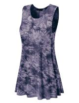 Made By Johnny WDR1077 Womens Tie Dye Round Neck Sleeveless Trapeze Dress Tunic Top L Black