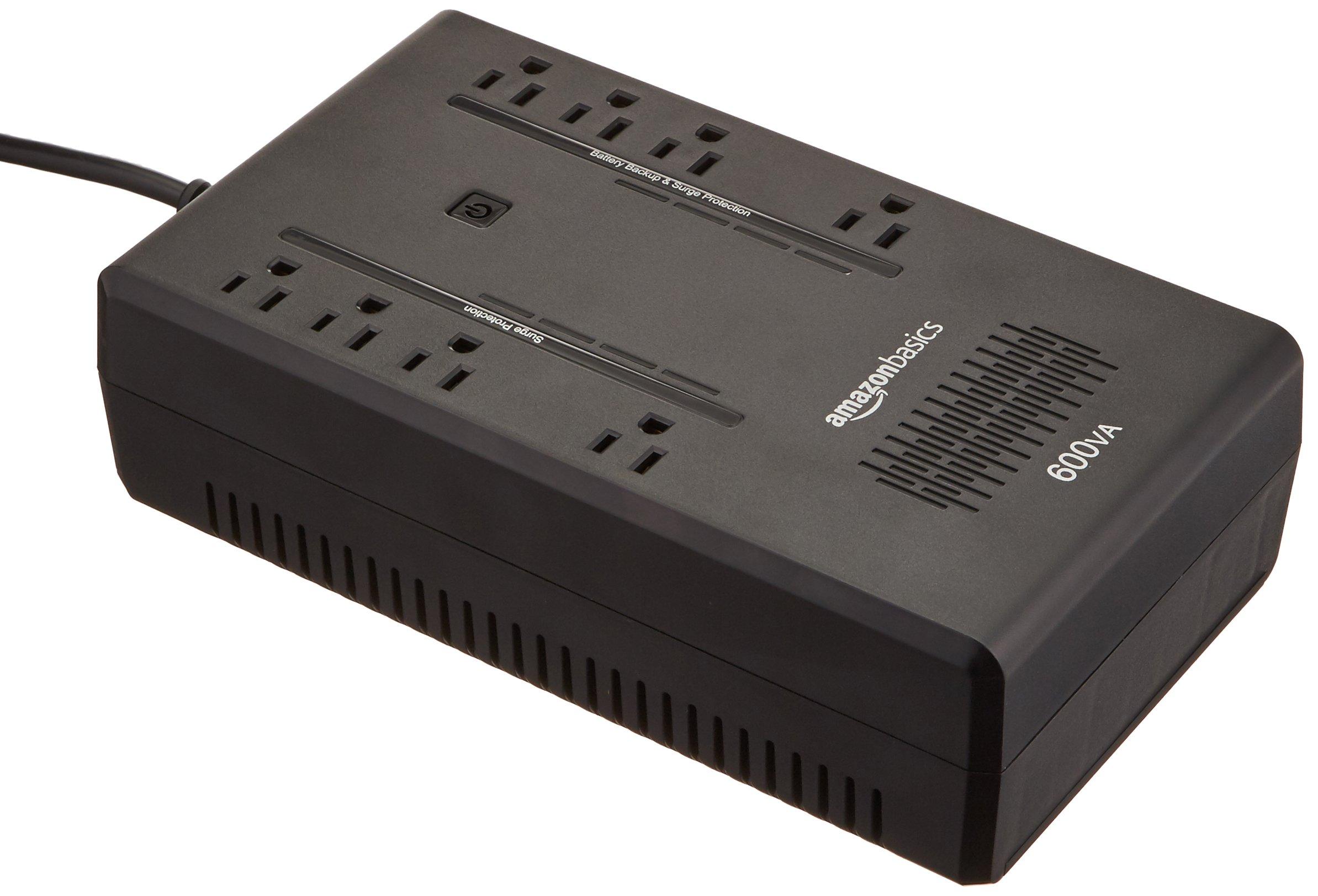 AmazonBasics Standby UPS 600VA 360W Surge Protector Battery Backup, 8 Outlets