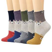 LIVEBEAR 5/10 Pack Womens Cute Characters, Novelty, Casual Cotton Crew Socks Made In Korea