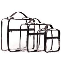 Olanmark Clear Packing Cubes 3 Set - Transparent Bags for Home Storage - Cube for Crafts Knitting Yarn - Toys Holder - Pen Pencil Case - PVC Makeup Cosmetic Pouch - Diaper Organizer - Gym or Beach Bag