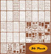 36 Pack Drawing Painting Stencils Template Sets, Number Alphabet Letter Shapes and Icons Stencils for Journal Notebook, Scrapbook, Card and Craft Projects