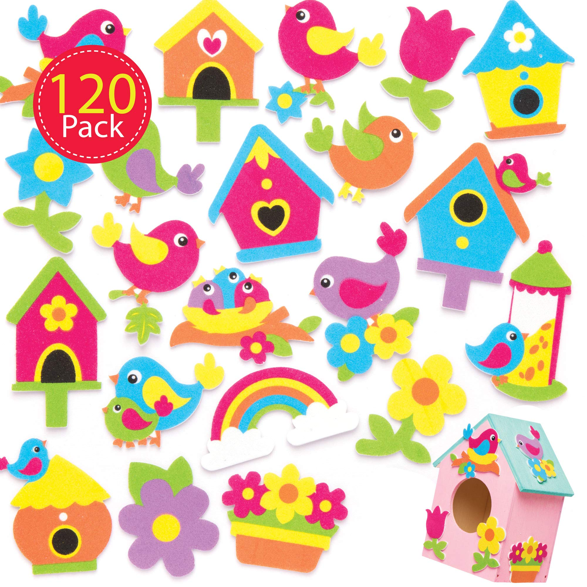 Baker Ross Self-Adhesive Foam Bird Decoration Stickers | Kids Spring Themed Fun Arts & Crafts Project | No Glue or Scissors Needed | Pack of 120 Colorful Nature Designs
