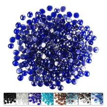 Hisencn 1/2 Inch Cobalt Blue Luster Fire Glass Beads for Fire Pit, Fireplace, Fire Bowls, Garden Landscaping Decorative Accessories, High Luster Tempered Glass Rocks, 10 Pounds