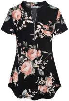 Ninedaily Women's Summer Tops Short Sleeve Casual Blouse Zip Floral Tunic Shirts