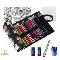 ThEast Premier Colored Pencils for Adult Coloring Book Premium Artist Colored Pencil Set Handmade Canvas Pencil Wrap Extra Accessories Included Oil based Colored Pencil Holiday Gift (72 colors set)