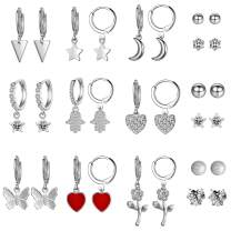 Aganippe 15 Pairs Gold/Silver Tone Plated Small Dangle Hoop Earrings with Charm for Women Girls Huggie Hoop Earrings and Cubic Zirconia/Round Ball Stud Earrings for teens Girls