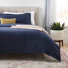 Linenspa Microfiber Duvet Cover - Two Piece Set Includes Duvet Cover and One Sham - Soft Brushed Microfiber - Hypoallergenic, Navy, Twin