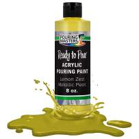 Pouring Masters Lemon Zest Metallic Pearl Acrylic Ready to Pour Pouring Paint – Premium 8-Ounce Pre-Mixed Water-Based - for Canvas, Wood, Paper, Crafts, Tile, Rocks and More