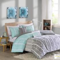 Intelligent Design Cozy Comforter Geometric Design Modern All Season Vibrant Color Bedding Set with Matching Sham, Decorative Pillow, Full/Queen, Adel Aqua, 5 Piece