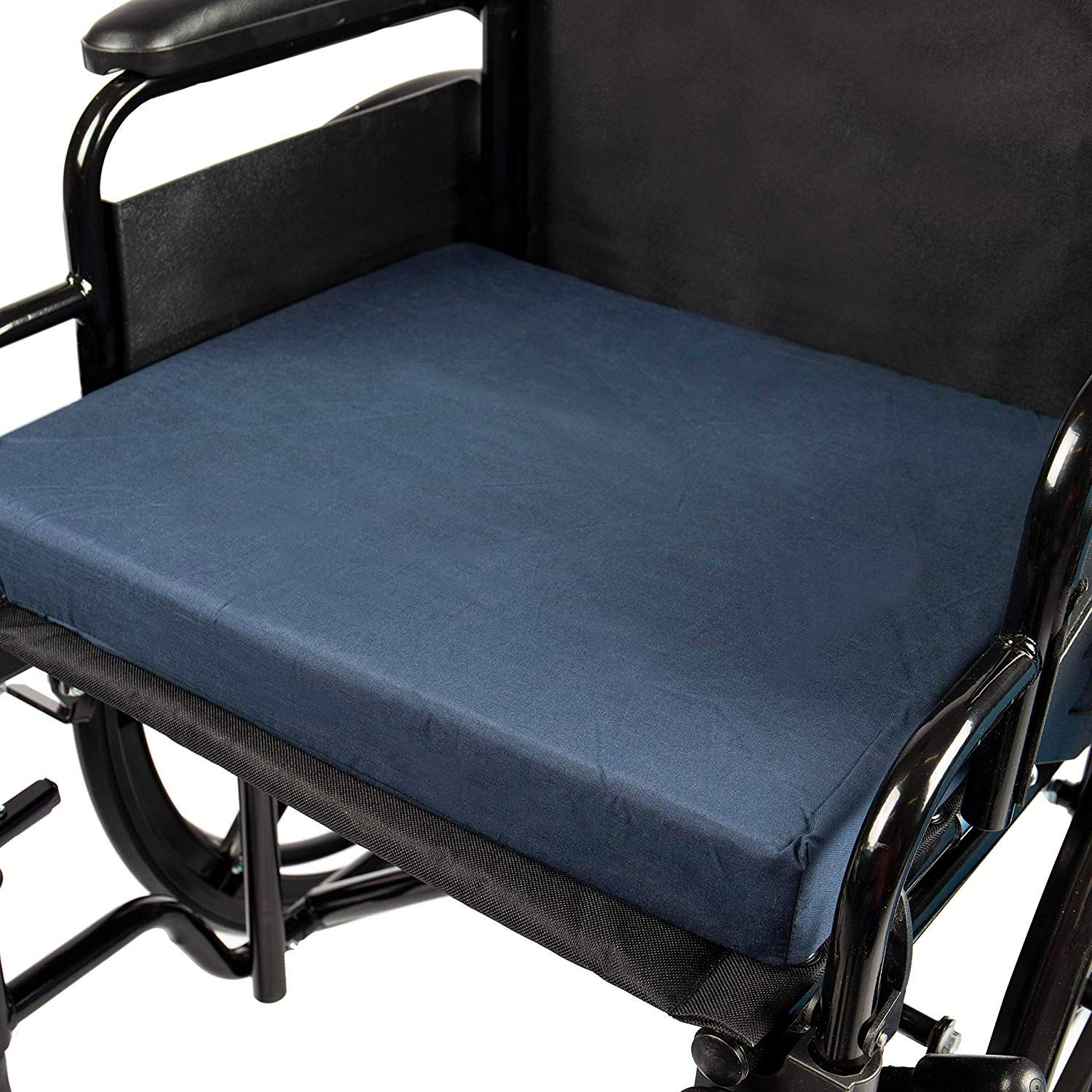 DMI Seat Cushion for Wheelchairs, Mobility Scooters, Office and Kitchen Chairs or Car Seats to Add Support and Comfort while Reducing Pressure and Stress on Back, 2 Inch thick, 16 x 18, Navy Blue