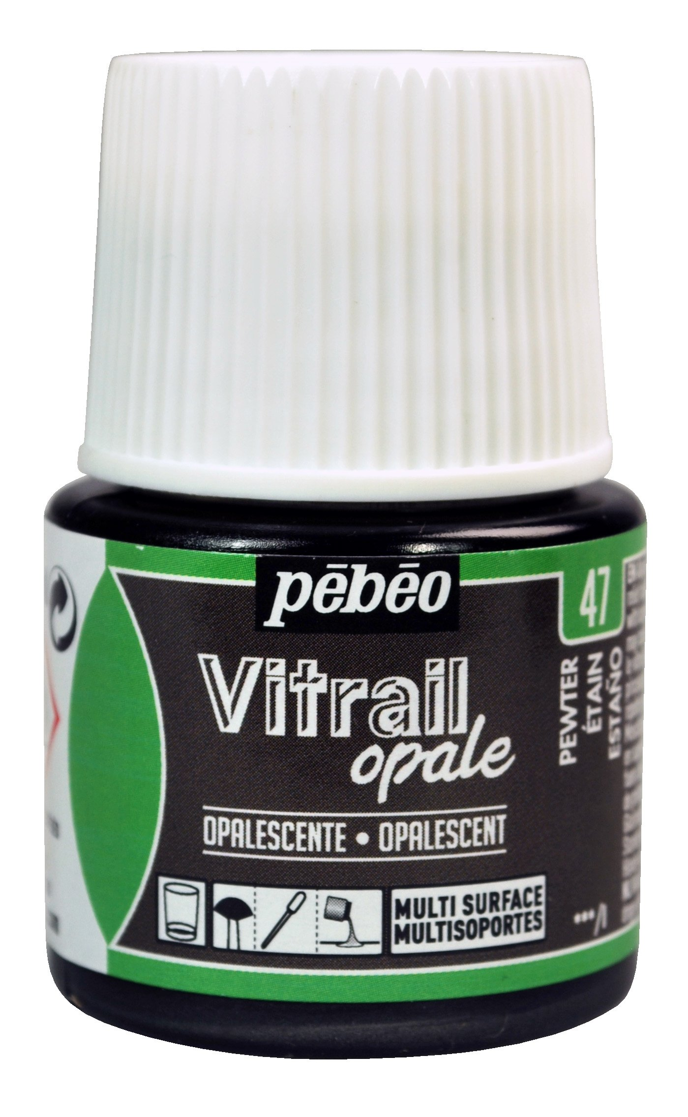 Pebeo Vitrail, Stained Glass Effect Paint, 45 ml Bottle - Pewter