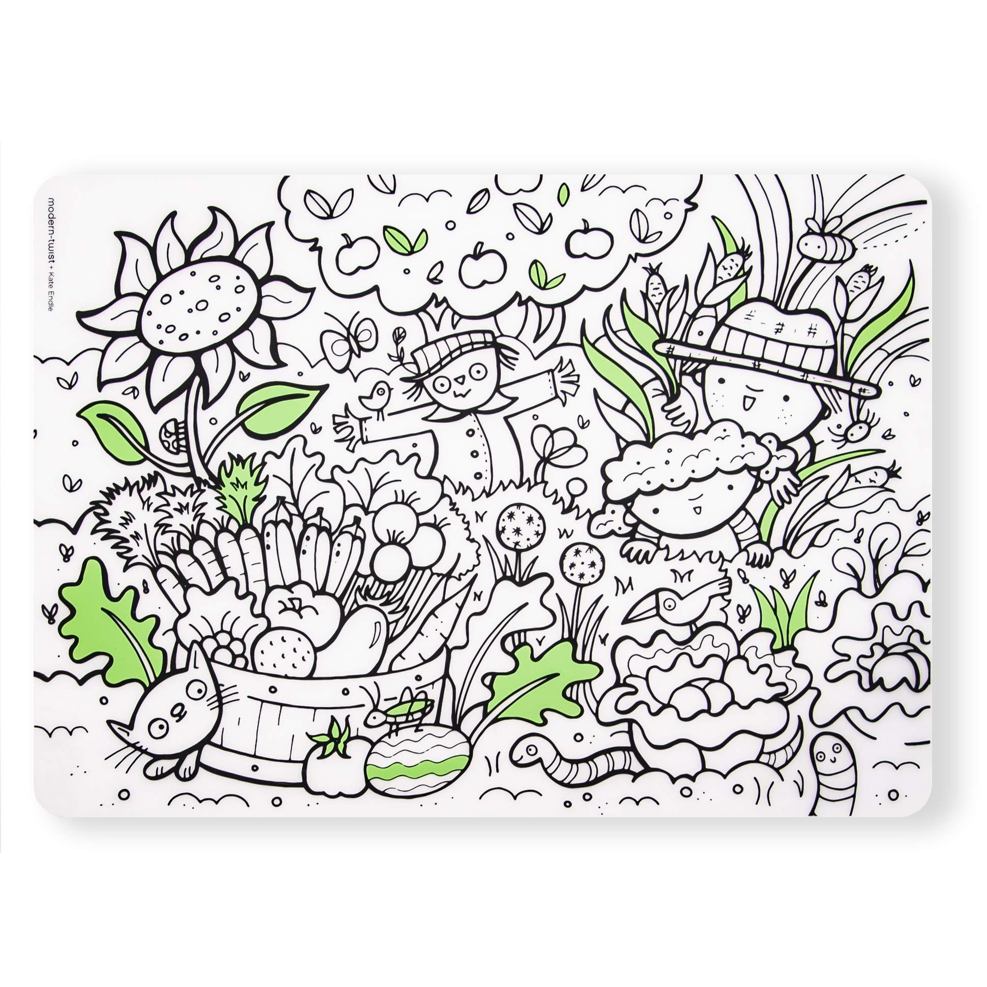 modern-twist 100% plastic free silicone, waterproof, dishwasher safe, Mark-Mat, Single Mat, Garden Play