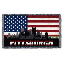 Pittsburgh Pennsylvania State Pride Roadtrip Souvenir Statement Throw for Couch or Sofa Cotton Woven in The USA 61x36