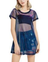 Perfashion Holographic Mesh Dress Metallic See Through T-Shirt Dress for Women