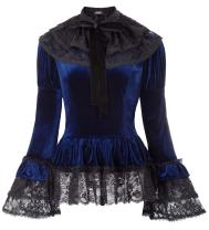 Women Gothic Victorian Velvet Top Steampunk Blouse + Lace Cape