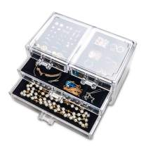 Acrylic Jewelry Box 4 Drawers,Clear Jewelry Organizer Velvet Rings Necklaces Earring Bracelets Display Case Stand Holder Tray for Women Girls(Black)