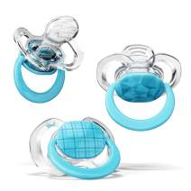Smilo Orthodontic Pacifier, Expands to Support The Palate During Soothing, Aqua, Stage 2 Suitable from 3 to 9 Months (Pack of 3)