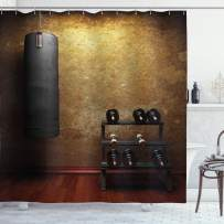 """Ambesonne Fitness Shower Curtain, Gym Room with Equipments Dumbbells Work Out Concept 3D Digital Print, Cloth Fabric Bathroom Decor Set with Hooks, 84"""" Long Extra, Black Redwood"""