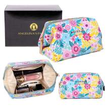 Angelina's Palace Vegan Leather Waterproof Travel Cosmetic Bag Toiletry Organizer Pouches(bloosom blue)