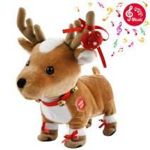Houwsbaby Walking Rudolph Baby First Christmas Toys with Music Electronic Musical Reindeer Interactive Animated Elk Sing a Song 'Jingle Bell' Gift for Kids Girls Boys, Brown, 12'' (Elk)