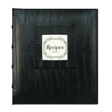 C.R. Gibson Bonded 3 Ring Recipe Book with Tabbed Dividers and Sheet Protectors, 8.94'' x 9.38'', Black Leather