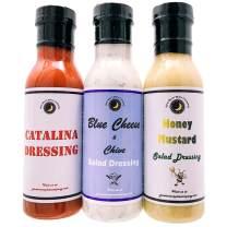 Premium | SALAD DRESSING | Variety 3 Pack | Honey Mustard Salad Dressing | Catalina Salad Dressing | Blue Cheese & Chive Salad Dressing | Low Cholesterol