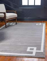 Unique Loom Uptown Collection by Jill Zarin Collection Greek Key Textured Modern Gray Area Rug (8' 0 x 10' 0)