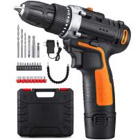"YIMALER 12V Cordless Drill Driver Kit Handheld Drill 1.5Ah Li-Ion 26 Accessories 3/8"" Chuck Max Torque 265 In-Lb 2 Speed Fast Charger LED light for Household Jobs Battery Included"