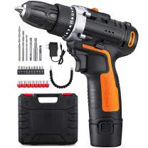 """YIMALER 12V Cordless Drill Driver Kit Handheld Drill 1.5Ah Li-Ion 26 Accessories 3/8"""" Chuck Max Torque 265 In-Lb 2 Speed Fast Charger LED light for Household Jobs Battery Included"""