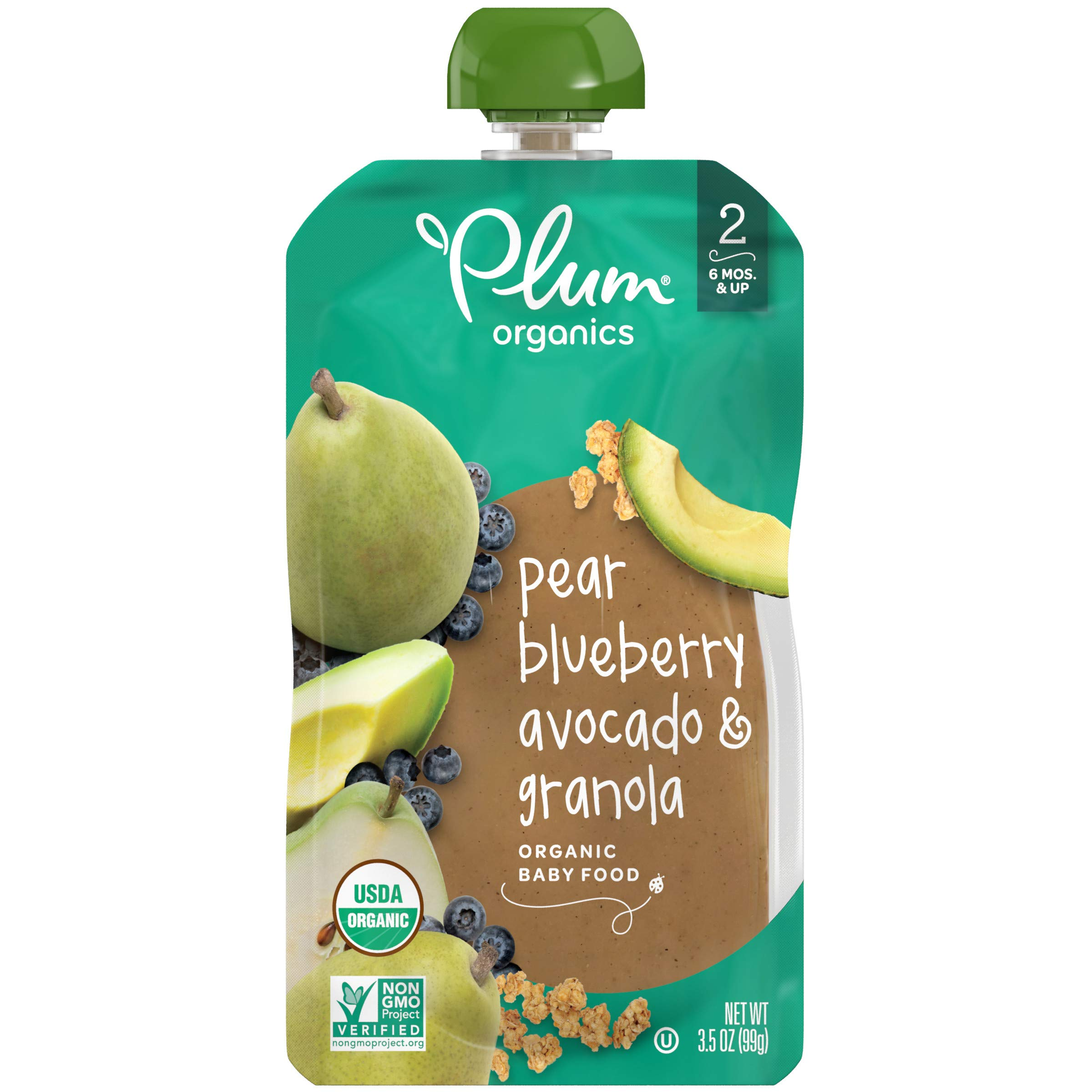 Plum Organics Stage 2 Organic Baby Food, Pear, Blueberry, Avocado & Granola, 3.5 Ounce Pouch, Pack of 6