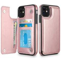 HianDier Wallet Case for iPhone 11 6.1-inch Slim Protective Case with Credit Card Slot Holder Flip Folio Soft PU Leather Magnetic Closure Cover for 2019 iPhone 11 iPhone XI, Rose Gold