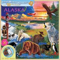 MasterPieces Jr. Ranger Real Wood Jigsaw Puzzle Wildlife of Alaska, 22 Fun Facts, STEM Product, 48 Pieces, For Ages 4+