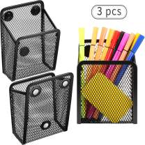 Magnetic Pencil Holder, Mesh Storage Baskets with Magnets to Hold Whiteboard/Refrigerator/Locker Accessories (3 Packs)