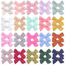40PCS 3 Inches Baby Girls Hair Bows Clips Small Linen Hair Barrettes Accessories for Babies Infant Toddlers Kids in Pairs