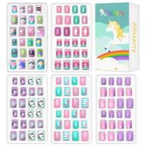 Allstarry 120pcs 5 pack Children Nails Press on Pre-glue Full Cover Glitter Gradient Color Rainbow Short False Nail Kits Lovely Gift for Children Little Girls Nail Art Decoration (Mermaid & Unicorn)