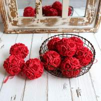 idyllic 9pcs Rose Flower Foam Kissing Balls for Bridal Wedding Centerpiece Party Ceremony Decoration 3.5 Inches (Dark Red)