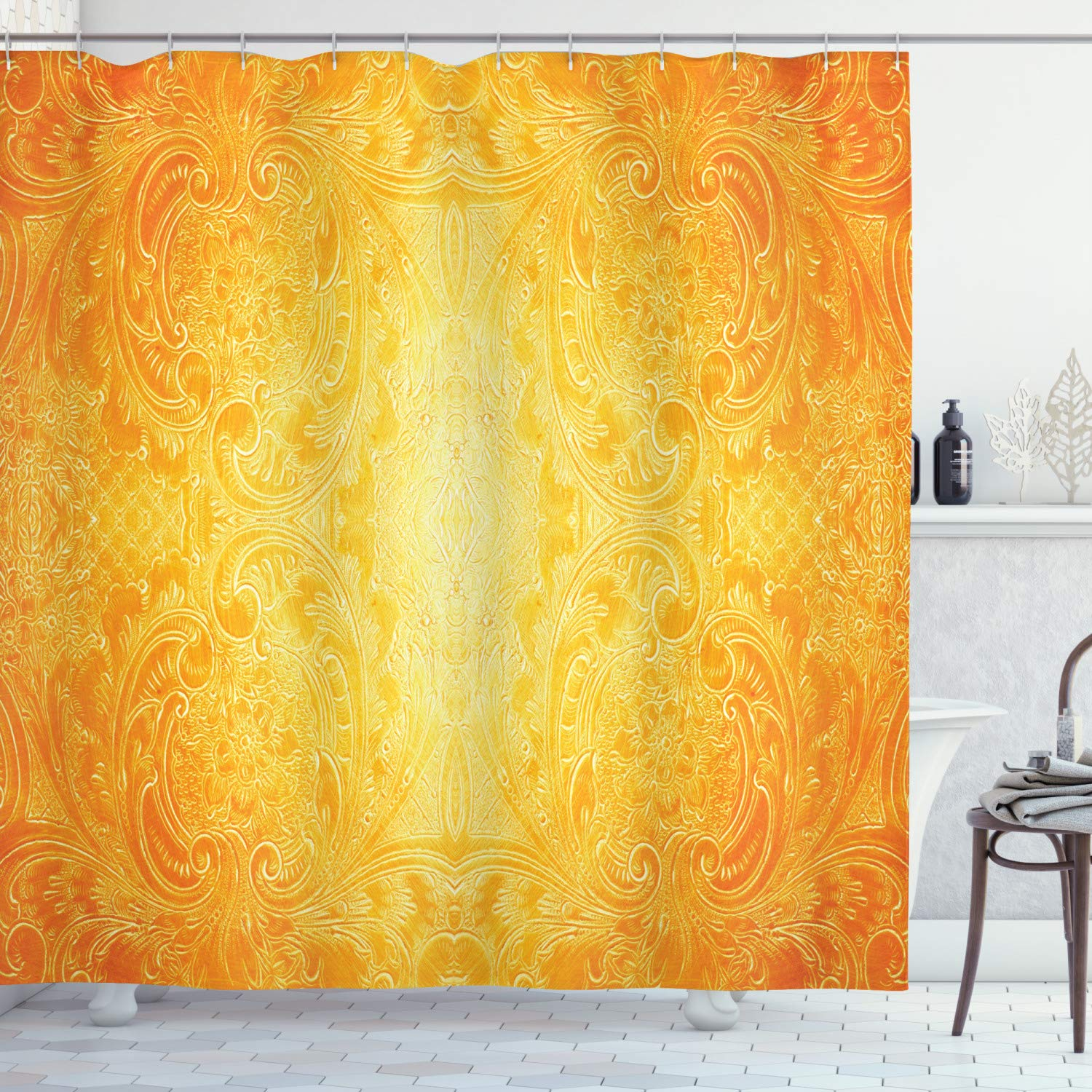 """Ambesonne Yellow Shower Curtain, Victorian Style Antique Pattern with Ornamental Flourish Vintage Design Illustration, Cloth Fabric Bathroom Decor Set with Hooks, 75"""" Long, Marigold"""