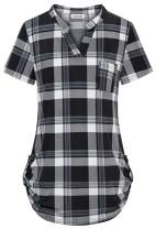 Ouncuty Womens Short Sleeves V Neck Button Down Shirts Casual Work Tunics Blouse
