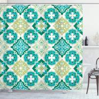 """Ambesonne Moroccan Shower Curtain, Colored Tiled Pattern Geometrical Diagonal and Triangle Forms Oldest Craft, Cloth Fabric Bathroom Decor Set with Hooks, 75"""" Long, Green Teal"""