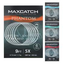 M MAXIMUMCATCH Maxcatch Fly Fishing Tapered Leader Line 6 Pack -Pre-Tied Loop- Tensile Strength- Abrasion Resistance- Low Memory 7.5ft/9ft/12ft/15ft, 0X-6X