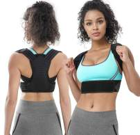Back Support Brace Posture Corrector for Men & Women Neck and Shoulder Pain Relief Devices with Lumbar Support Keep from Slouching (Black, XL)