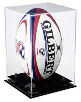Better Display Cases Acrylic Rugby Ball Display Case with Risers