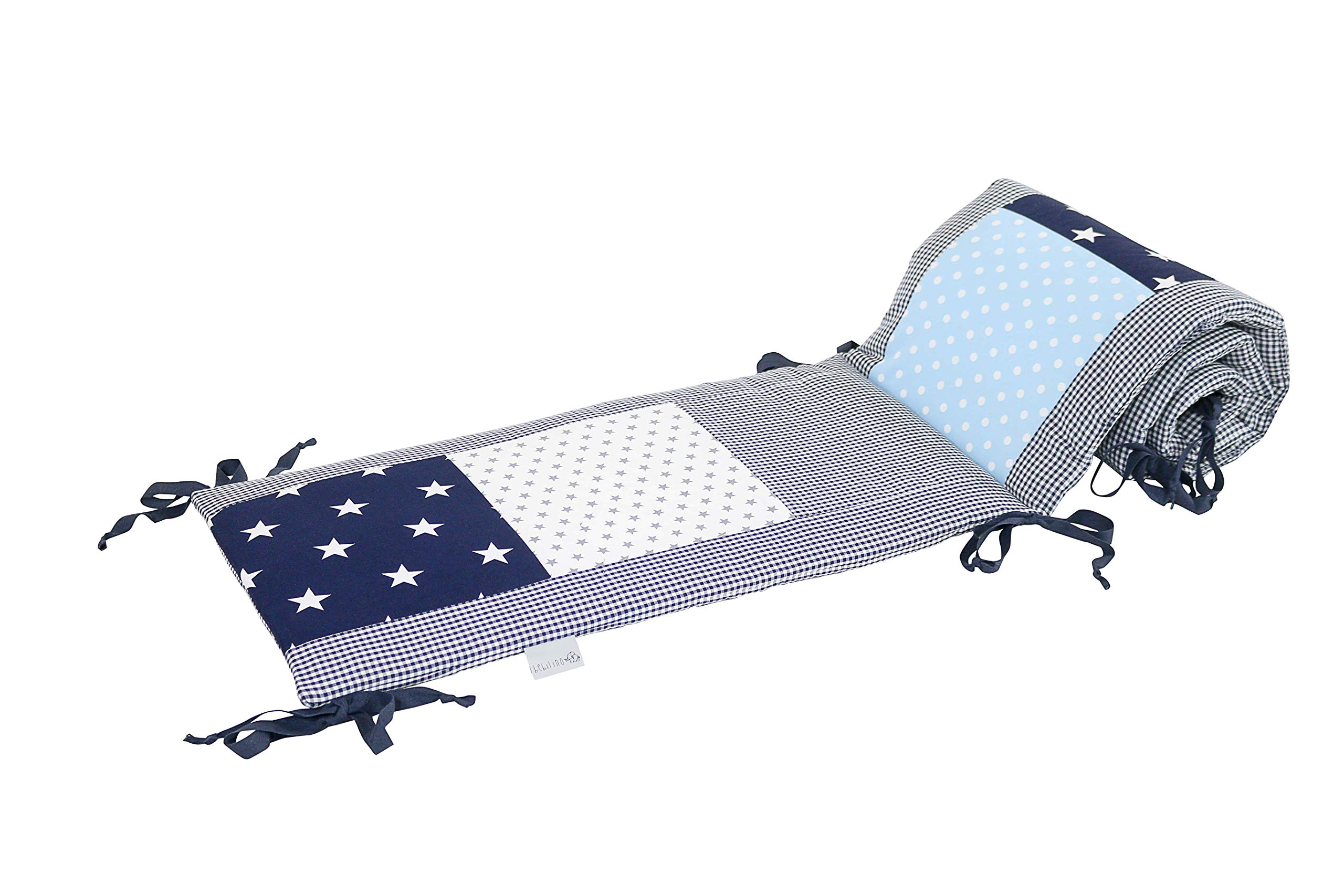 """Baby Crib Bumper Pads by ULLENBOOM   Stars/Checkered   Breathable Liner   80"""" x 12"""" - Unisex Blue/Grey"""