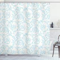 """Ambesonne Floral Shower Curtain, Flower Orchids Bohemian Style Vintage Petals Vines Pattern French Country Style, Cloth Fabric Bathroom Decor Set with Hooks, 70"""" Long, White Blue"""