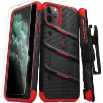 ZIZO Bolt Series iPhone 11 Pro Max Case - Heavy-Duty Military-Grade Drop Protection w/Kickstand Included Belt Clip Holster Tempered Glass Lanyard - Black/Red