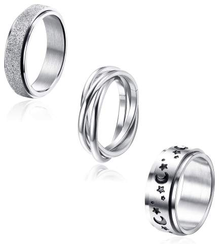 Jstyle 3Pcs Stainless Steel Spinner Band Ring for Women Mens Triple Interlocked Rolling Moon Star Celtic Stress Relieving Cool Fidget Rings Wedding Promise Band Rings Set