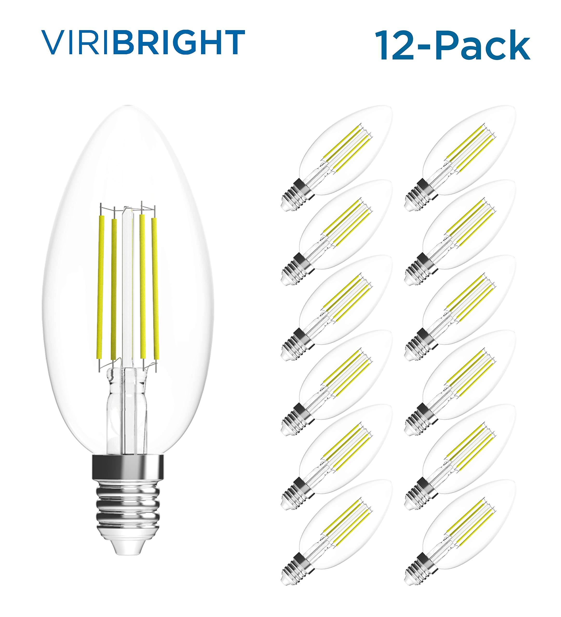 Viribright LED Non-Dimmable B11 Candle Light Bulb, 180 Lumen, 2700K Warm White, 2.5-Watt (35-Watt Equivalent), E12 Base, Pack of 12