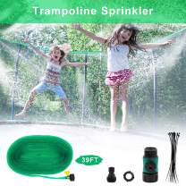 AUKUZI Summer Trampoline Sprinkler for Kids, 39ft Outdoor Trampoline Water Party Water Toys, Fun Sprinklers Toys for Boys Girls Adults Pets/ Cooling, Backyard Irrigation Adjustable with Valve